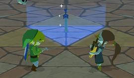 Medli y Link devolviéndole su poder a la Espada Maestra WW.png