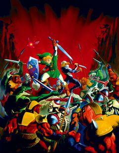 Artwork Link y Sheik luchando hordas Ganondorf OoT.jpg