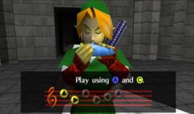 Link aprendiendo el preludio de luz OoT.png