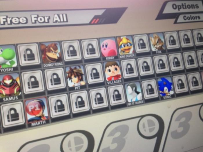Pantala de selección de personajes de SSB4