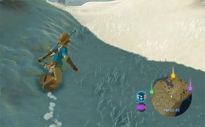 Link surfeando con escudo